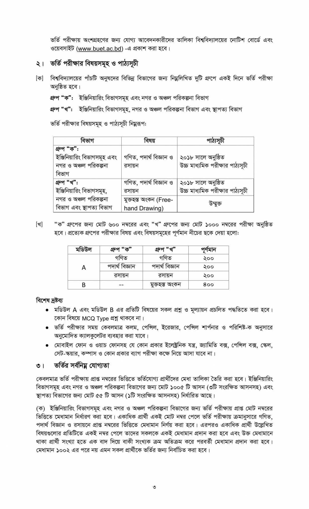 Bangladesh University of Engineering & Technology Admission Guideline-2