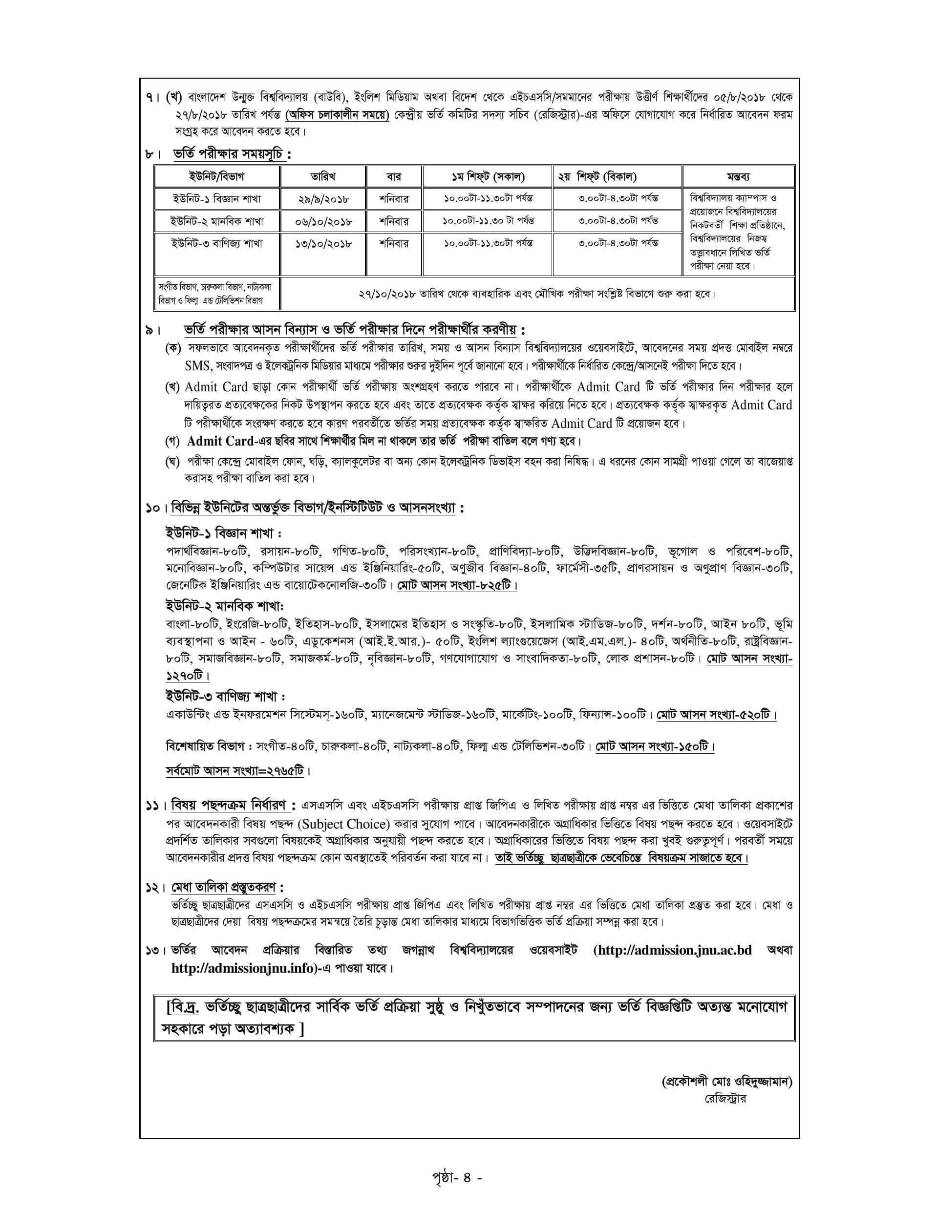 Jagannath University Admission Circular-3