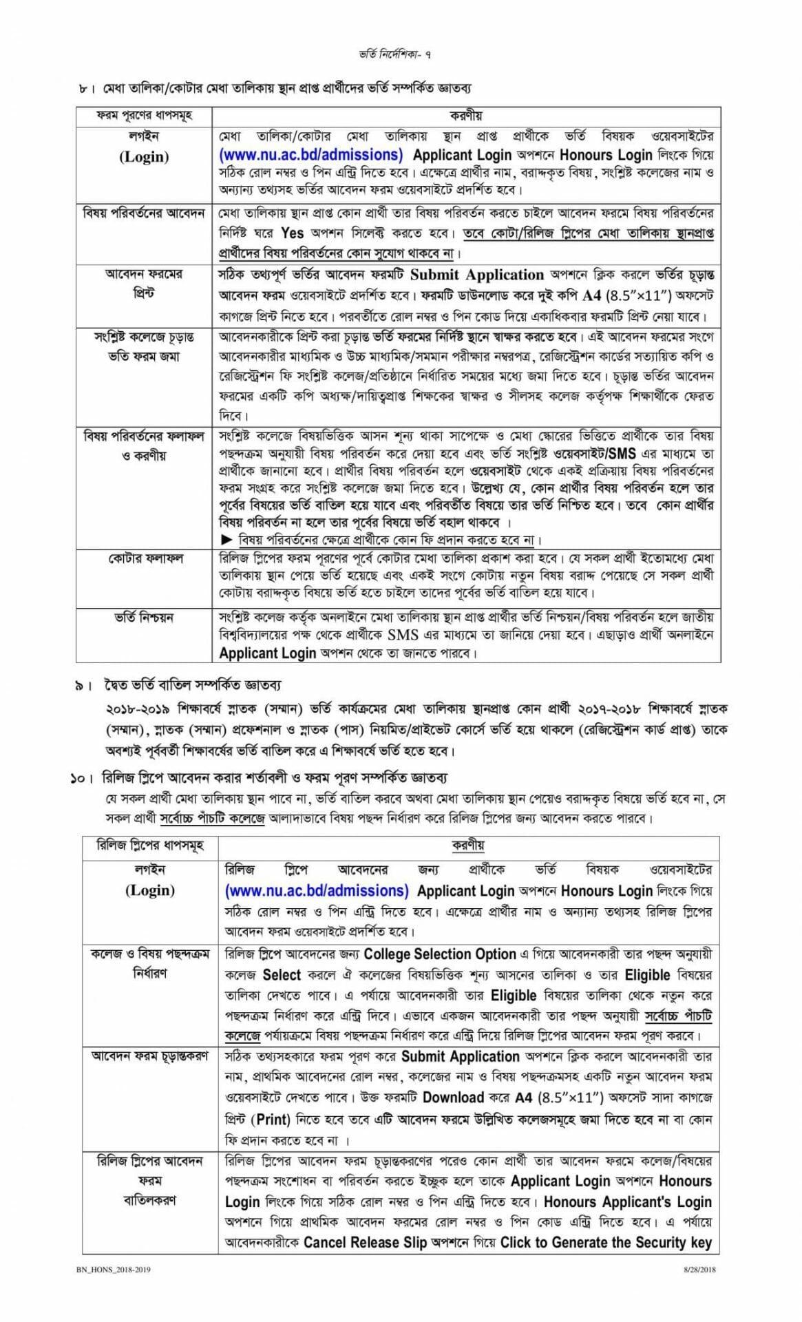 National University Admission Honours Guideline-7