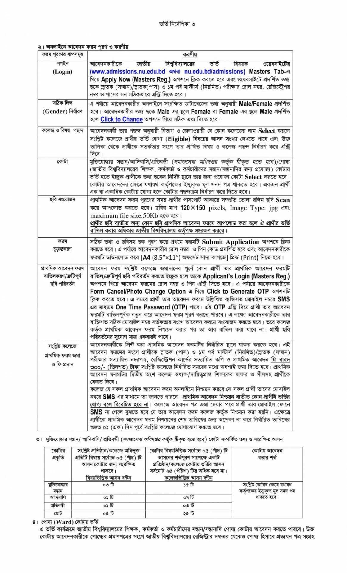 National University Admission Masters Regular guideline-2