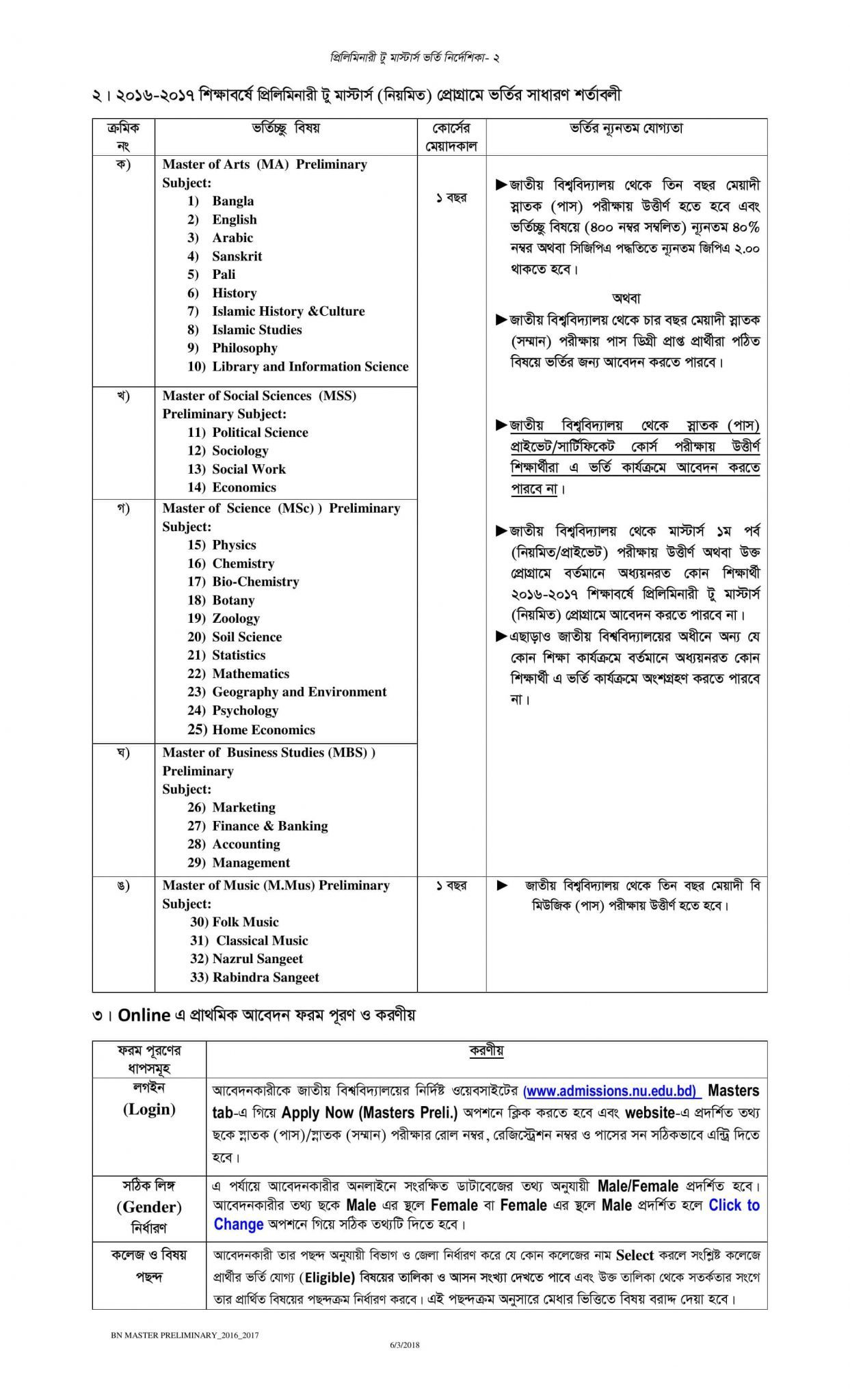 National University Admission Preliminary To Masters Guideline-1