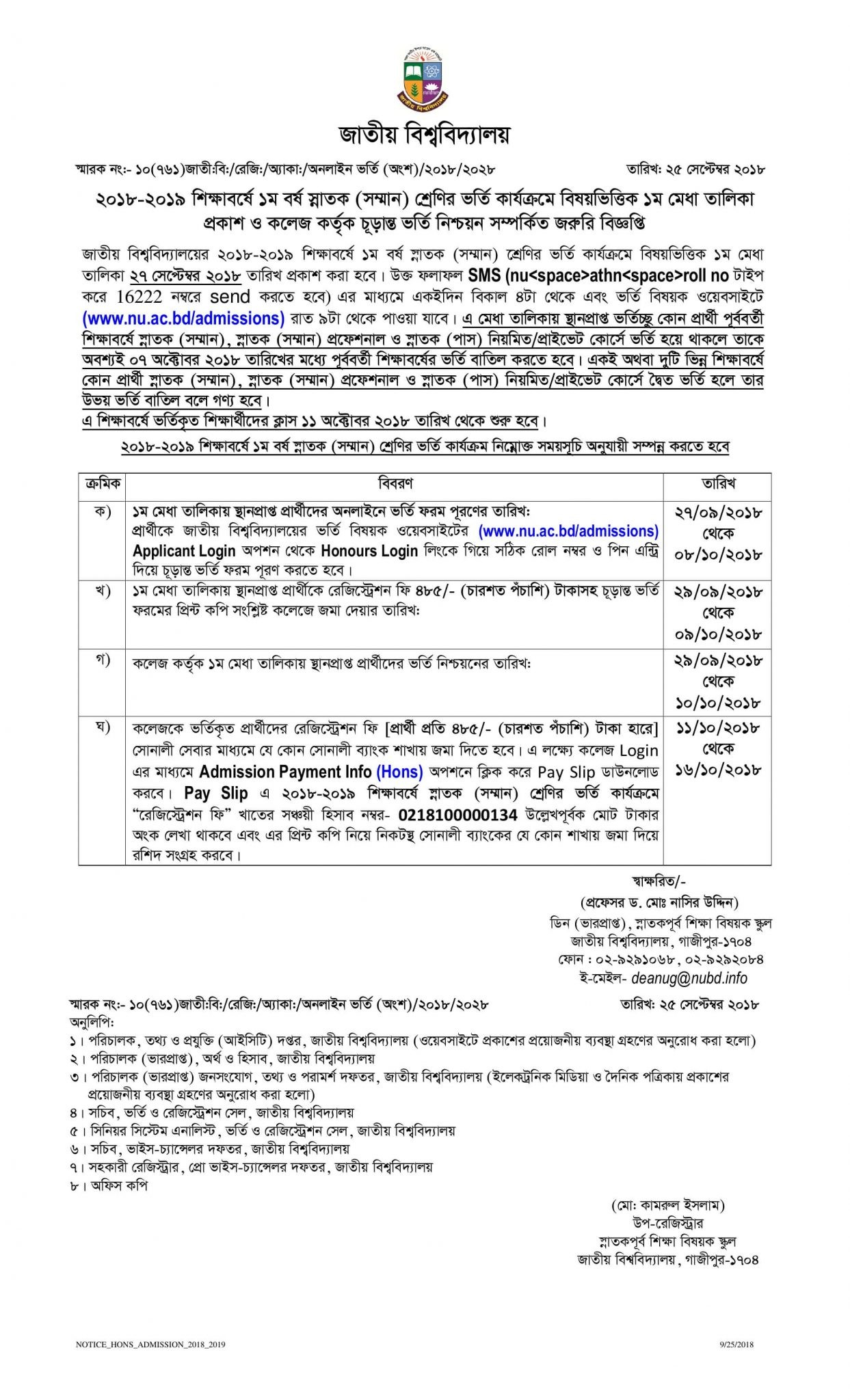 National University Admission Important Notice for Honours