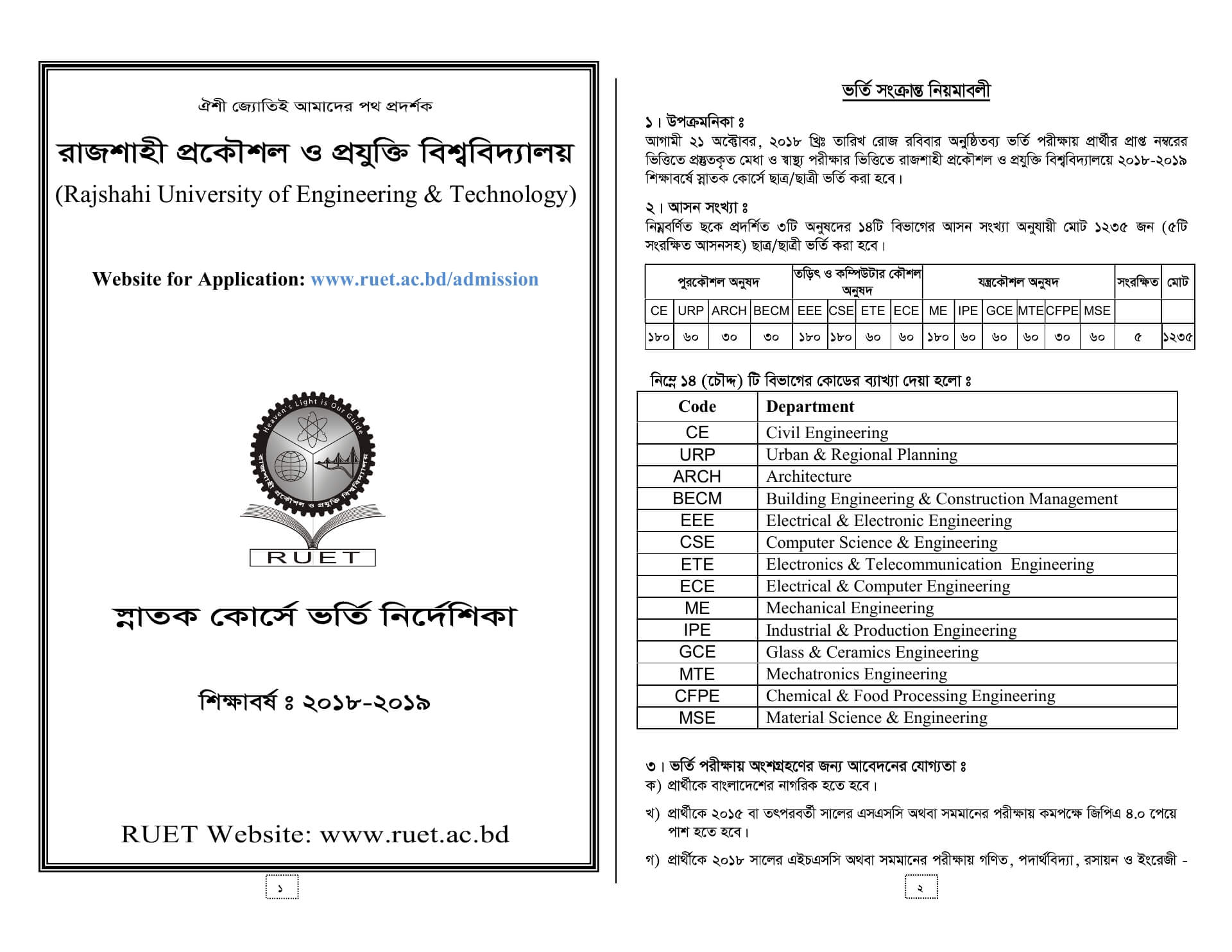 Ruet Admission Guideline